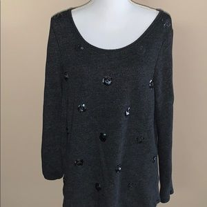 Aerie charcoal grey sweater with sequin